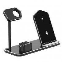 Stativ de încărcare rapidă 3 în 1, pentru încărcare wireless, pentru iPhone / Apple Watch / AirPods - negru