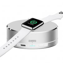 Powerbank, stativ încărcător şi carcasă de protecţie 3 în 1, pentru Apple Watch - argintiu