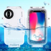 Husă impermeabilă până la adâncimea de 40 m, pentru iPhone XS / iPhone X - alb