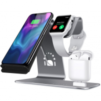 Stativ pentru încărcare iPhone / Watch / AirPods - argintiu
