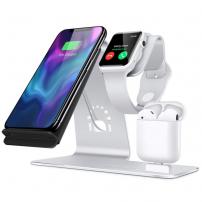 Suport de încărcare Bestand 3in1 pentru Apple Watch / AirPods și încărcare rapidă wireless iPhone - argintiu