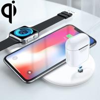 Pad încărcător wireless Qi, pentru iPhone / Watch / AirPods - alb