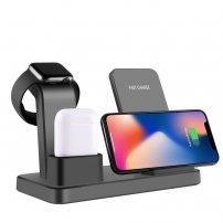 Încărcător wireless de birou, 3 în 1, pentru iPhone / Apple Watch / AirPods - negru